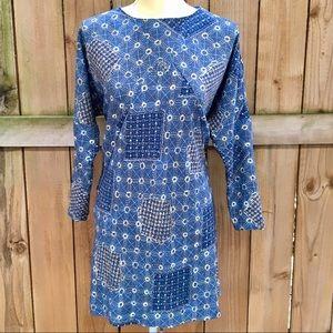 🆕 Zara Basic Blue Geometric Wedge/Shift Dress EUC